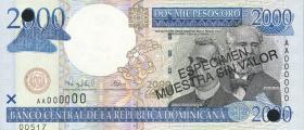 Dom. Republik/Dominican Republic P.164s 2000 Pesos Oro 2000