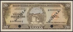 Dom. Republik/Dominican Republic P.102s2 20 Pesos Oro 1964