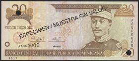 Dom. Republik/Dominican Republic P.160s 20 Pesos Oro 2000