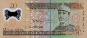 Dom. Republik/Dominican Republic P.182 20 Pesos Oro 2009 Polymer