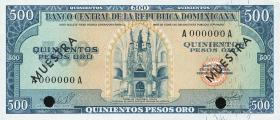 Dom. Republik/Dominican Republic P.105s2 500 Pesos Oro 1964