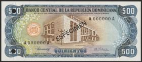 Dom. Republik/Dominican Republic P.123s1 500 Pesos Oro 1980