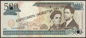 Dom. Republik/Dominican Republic P.162s 500 Pesos Oro 2000