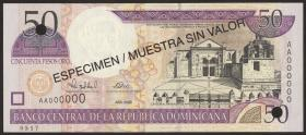 Dom. Republik/Dominican Republic P.161s 50 Pesos Oro 2000