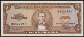 Dom. Republik/Dominican Republic P.100 5 Pesos Oro 1964-74