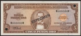 Dom. Republik/Dominican Republic P.109s 5 Pesos Oro 1976