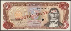 Dom. Republik/Dominican Republic P.118s2 5 Pesos Oro 1985-87
