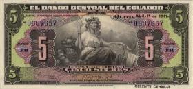Ecuador P.091b 5 Sucres 1947 (1)