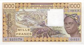 West-Afr.Staaten/West African States P.107Ai 1000 Francs 1989 (1)