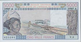 West-Afr.Staaten/West African States P.108Ap 5000 Francs 1987 (1/1-)