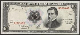 El Salvador P.135b 10 Colones 1988 (1)
