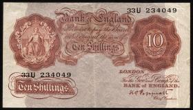 Großbritannien / Great Britain P.362c 10 Shillings (1928-48) (3)