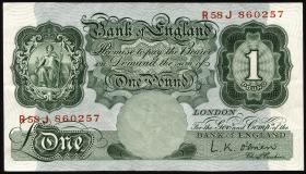 Großbritannien / Great Britain P.369c 1 Pound (1955-60) (2)