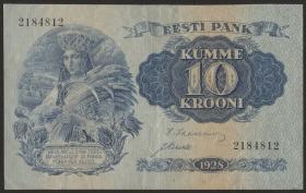 Estland / Estonia P.63a 10 Kronen 1928 (3+)