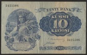 Estland / Estonia P.63a 10 Kronen 1928 (3)