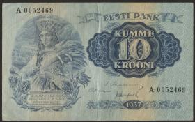 Estland / Estonia P.67a 10 Kronen 1937 (3+)
