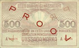 Estland / Estonia P.49s 500 Marka (1921) Serie A Specimen (2)