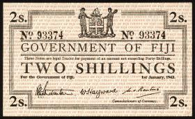 Fiji Inseln / Fiji Islands P.050a 2 Shillings 1942 (2/1)