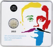 Frankreich 2 Euro 2013 Pierre de Coubertin Blister