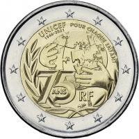 Frankreich 2 Euro 2021 75 Jahre UNICEF