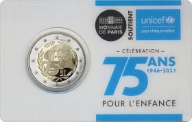 Frankreich 2 Euro 2021 75 Jahre UNICEF Coincard stgl (BU)