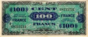 Frankreich / France P.123c 100 Francs 1944 Block 4 (2)