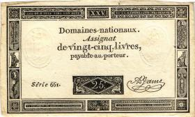 Frankreich / France P.A071 Assignat 25 Livres 1793 (3+)