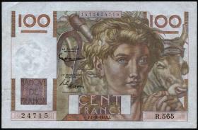 Frankreich / France P.128e 100 Francs 1953 (1-)