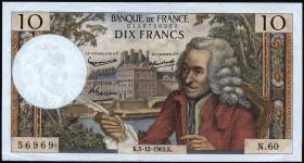 Frankreich / France P.147a 10 Francs 1963 Voltaire (1)