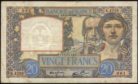 Frankreich / France P.092b 20 Francs 1941 (3-)