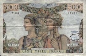 Frankreich / France P.131c 5000 Francs 1953 (3)