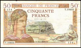 Frankreich / France P.085b 50 Francs 1939 (3)