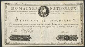 Frankreich / France P.A058 Assignat 50 Livres 1792 (3-)