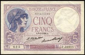 Frankreich / France P.072d 5 Francs 1929 (2)