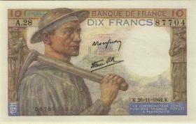 Frankreich / France P.099e 10 Francs 1942 (1)