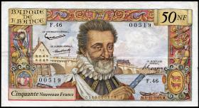 Frankreich / France P.143 50 Neue Francs 1959 Henri IV. (3+)