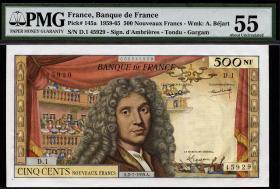 Frankreich / France P.145a 500 Neue Francs 1965 (1/1-)