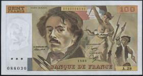 Frankreich / France P.154b 100 Francs 1980 (1)