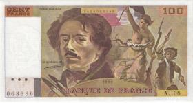 Frankreich / France P.154e 100 Francs 1990 (2/1)
