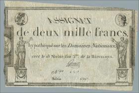 Frankreich / France P.A081 Assignat 2000 Francs (1795) (3+)