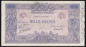 Frankreich / France P.067j 1000 Francs 1939 (3+)