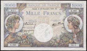 Frankreich / France P.096a 1000 Francs 1940 (2/1)