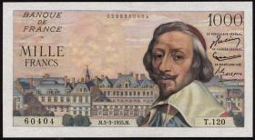 Frankreich / France P.134a 1000 Francs 3.3.1955 (1)