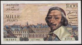 Frankreich / France P.134a 1000 Francs 5.1.1956 (1)