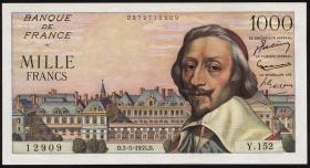 Frankreich / France P.134a 1000 Francs 1.9.1955 (1/1-)