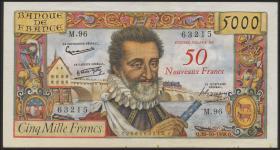 Frankreich / France P.139a 50 NF auf 5000 Francs 1958 (2)
