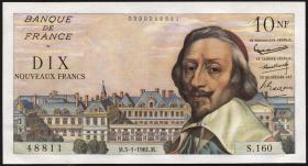 Frankreich / France P.142 10 Neue Francs 5.1.1961 (1) Kardinal Richelieu
