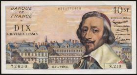 Frankreich / France P.142 10 Neue Francs 5.4.1962 (1) Kardinal Richelieu