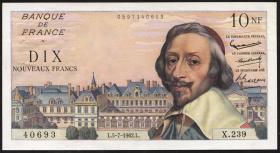 Frankreich / France P.142 10 Neue Francs 5.7.1962 (1) Kardinal Richelieu
