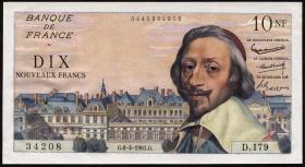 Frankreich / France P.142 10 Neue Francs 6.4.1961 (1) Kardinal Richelieu